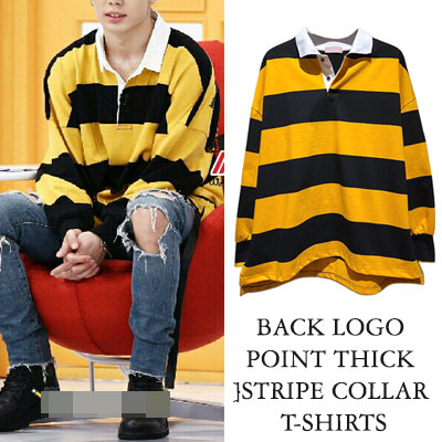 [UNISEX]  IKON BOBBY/BTS/DNA/JIN/ZICO st.BACK LOGO POINT THICK STRIPE COLLAR T-SHIRTS(2color)