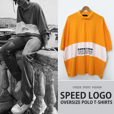 [UNISEX] SPEED LOGO OVERSIZE POLO T-SHIRTS(2color)