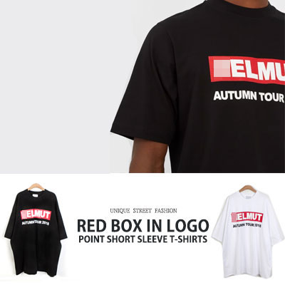 [UNISEX] RED BOX IN LOGO POINT SHORT SLEEVE T-SHIRTS(2color)