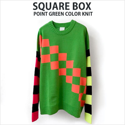 [UNISEX] SQUARE BOX POINT GREEN COLOR KNIT