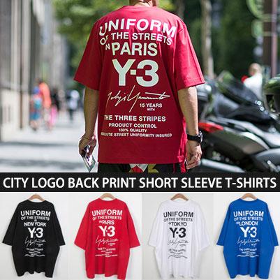[UNISEX] CITY LOGO BACK PRINT SHORT SLEEVE T-SHIRTS(4color)