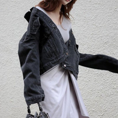 【PAPER MOON】WASHING DENIM SHIRRING DENIM JACKET-black ver.