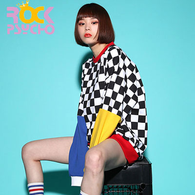 【ROCK PSYCHO】CHECKER RAINBOW CREW NECK