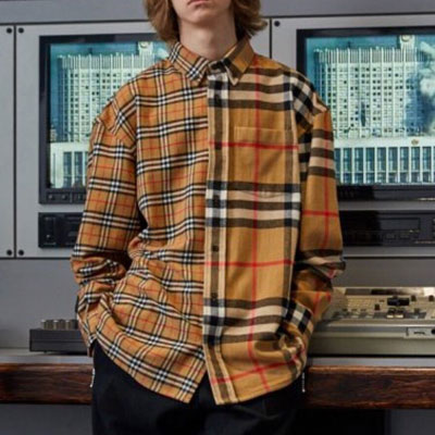 [UNISEX] HALF&HALF BEIGE CHECK LONG SLEEVE SHIRTS