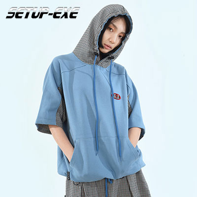 【SETUP-EXE】 CHECK PATCH HOOD -  SKY BLUE