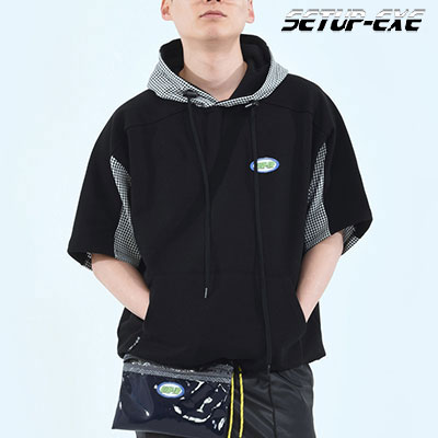 【SETUP-EXE】 CHECK PATCH HOOD -  BLACK