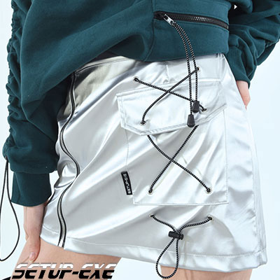 【SETUP-EXE】 SIDE POCKET SKIRT - SILVER