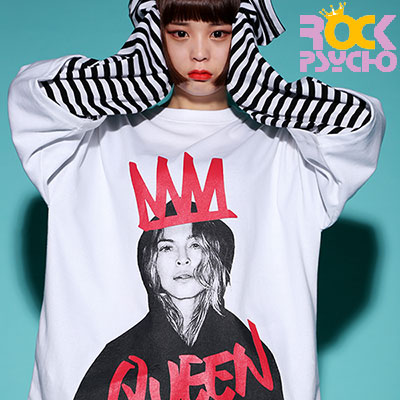 【ROCK PSYCHO】QUEEN PRINT LONG T-SHIRT - WHITE