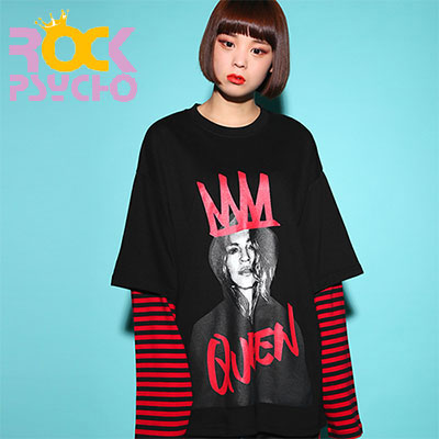 【ROCK PSYCHO】QUEEN PRINT LONG T-SHIRT - BLACK