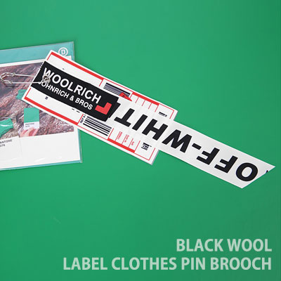 [UNISEX] BLACK WOOL LABEL CLOHES PIN BROOCH