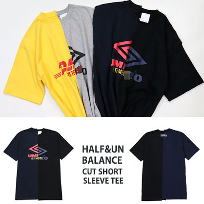 [UNISEX] HALF&UNBALANCE CUT SHORT SLEEVE T-SHIRTS(2color)