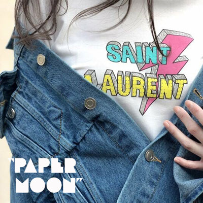 【PAPER MOON】LIGHTNING/VINTAGE LOGO SHORT SLEEVE T-SHIRTS-white