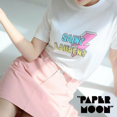 【PAPER MOON】LIGHTNING/VINTAGE LOGO SHORT SLEEVE T-SHIRTS-white