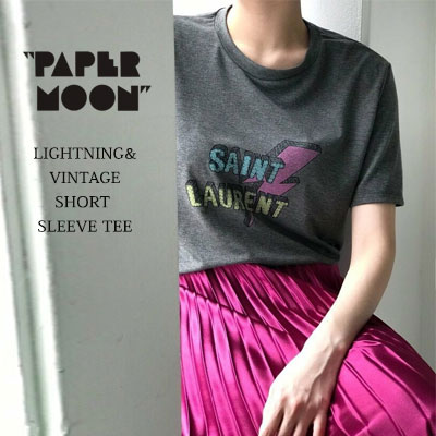 【PAPER MOON】LIGHTNING/VINTAGE LOGO SHORT SLEEVE T-SHIRTS-charcoal