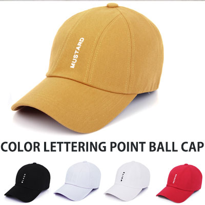 [UNISEX] COLOR LETTERING POINT BALL CAP(5color)