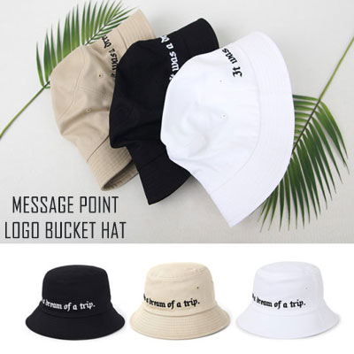 [UNISEX] MESSAGE POINT LOGO BUCKET HAT(3color)