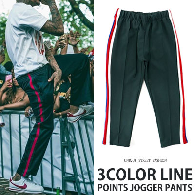 [UNISEX] 3COLOR LINE POINT CROP PANTS(2color)