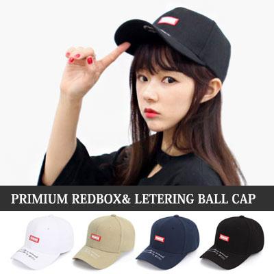 [UNISEX] PREMIUM REDBOX LETTERING BALL CAP(4color)