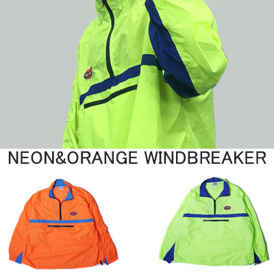 [UNISEX] NEON ORANGE COLOR WINDBREAKER(2color)