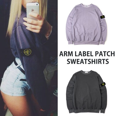 [UNISEX] ARM LABEL PATCH WASHING SWEATSHIRTS(2color)
