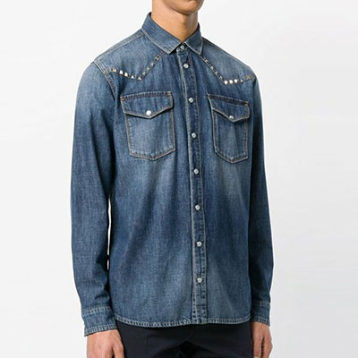 STUD POINT TWO POCKET DENIM SHIRTS(2color)