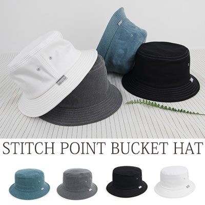 [UNISEX] STITCH LINE POINT BUCKET HAT(4color)