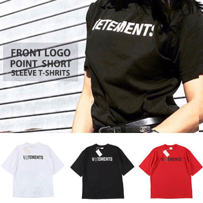 [UNISEX] FRONT LOGO POINT SHIRT SLEEVE TSHIRTS(3color)