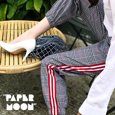 【PAPER MOON】WIDE RED TPPE POINT GLENCHECK JOGGERPANTS(2size)