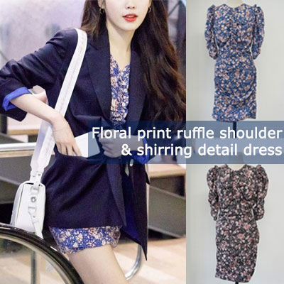 IU style/FLORAL PRINT RUFFLE SHOULDER, SHIRRING DETAIL DRESS(2color/2size)