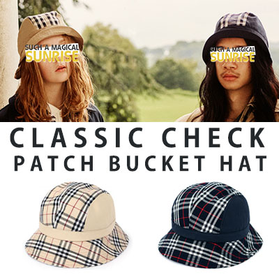 [UNISEX] CLASSIC CHECK PATCH BUCKET HAT(2colot)