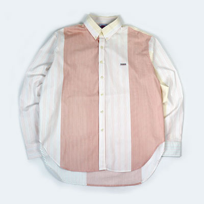 [UNISEX] PINK PIN STRIPE MIX PATCH SHIRTS