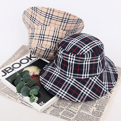 [UNISEX] CLASSIC CHECK BASIC TWO COLOR BUCKET HAT(2color)