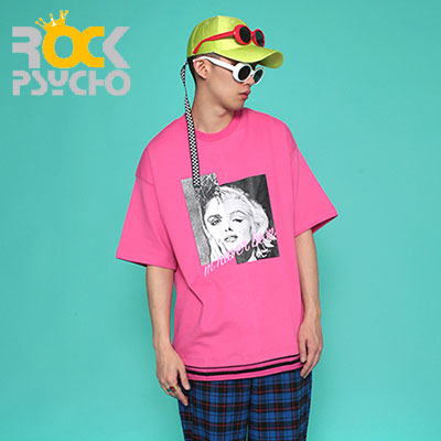 【ROCK PSYCHO】MM OVERSIZED SHORT SLEEVE T-SHIRT -PINK