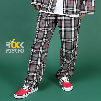 【ROCK PSYCHO】 LONDON CHECK PANTS-GREY
