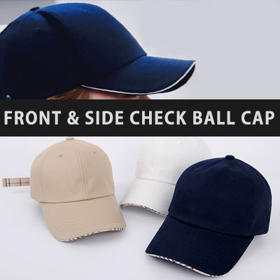 [UNISEX]FRONT/SIDE CLASSIC CHECK BALL CAP(4color)