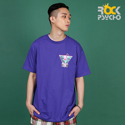【ROCK PSYCHO】Flamingo print short sleeve T-Shirt  -PURPLE