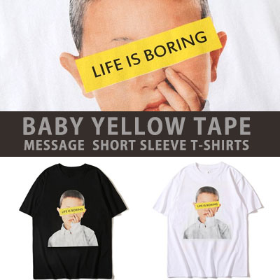 [UNISEX] BABY YELLOW TAPE MESSAGE SHORT SLEEVE TSHIRTS(2color)