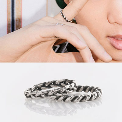 [size 11] BTS/RM st. SILVER 92.5 CHAIN TWIST RING