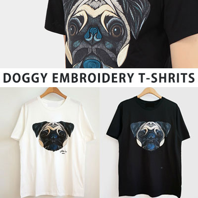 [UNISEX] DOGGY EMBROIDERY TSHIRTS(2color)
