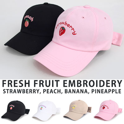 [UNISEX] FRESH FRUIT EMBROIDERY BALL CAP(4color)