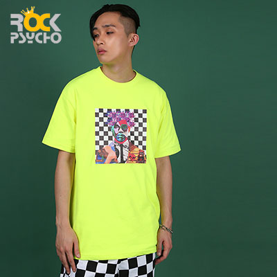 【ROCK PSYCHO】Man art short sleeve polo shirt ( 2 COLORS )