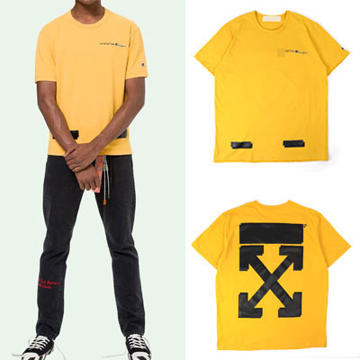 [UNISEX] WHITE ARROW PRINT YELLOW COLOR SHORT SLEEVE TSHIRTS-YELLOW