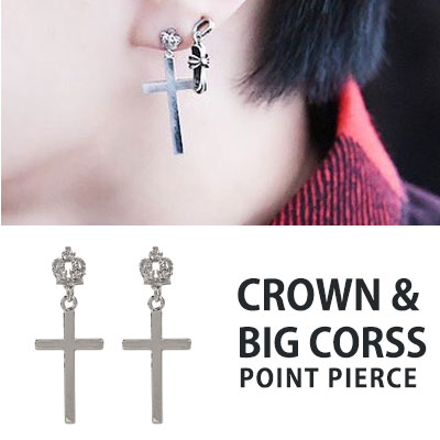 [1ea]VIXX STYLE/CROWN&BIG CROSS POINT PIERCE