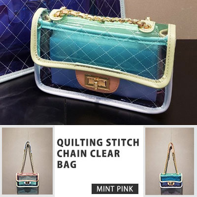 QUILTING STITCH CHAIN CLEAR BAG(2color)