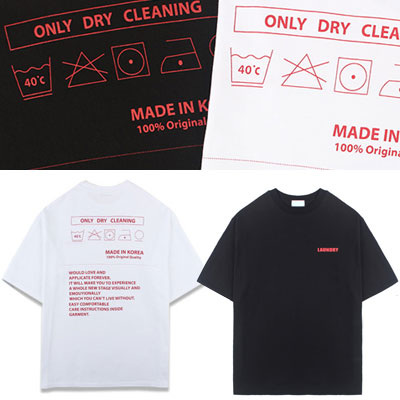 [UNISEX] ONLY DRY CLEANING LABEL PRINT SHORT SLEEVE TSHIRTS(2color)