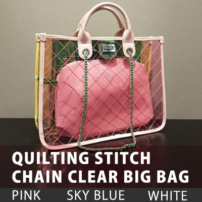 QUILTING STITCH CHAIN CLEAR BIG BAG (3color)