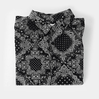 [UNISEX] PAISLEY BLACK LONG SLEEVE SHIRTS
