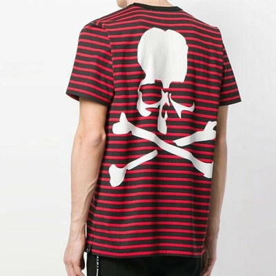 [UNISEX] STRIPE BACK SKULL PRINT SHORT SLEEVE TSHIRTS(3color)