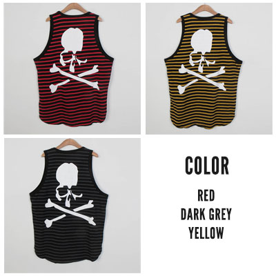 [UNISEX] SKULL STRIPE TANK TOP(3color)