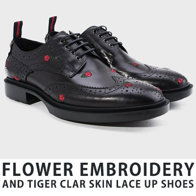 [25.5 ~ 27.5cm] FLOWER EBMROIDERY / TIGER CLAR SKIN LACE UP SHOES